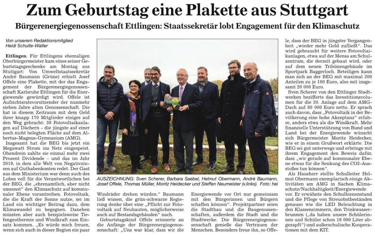 Staatssekretär Dr. Andre Baumann besucht die BEG in Ettlingen